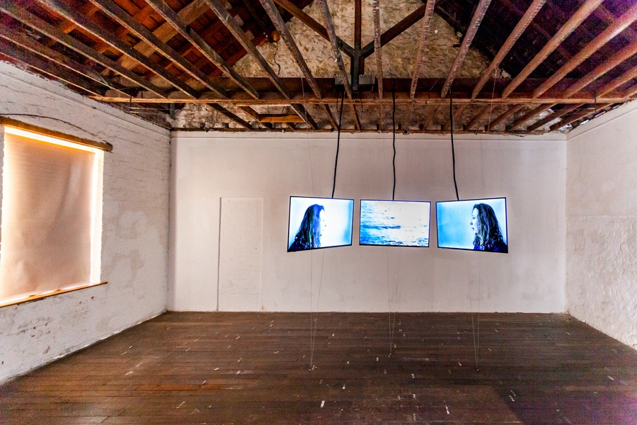 Installation View- 3 channel Video 'Doldrums' by Penny Coss